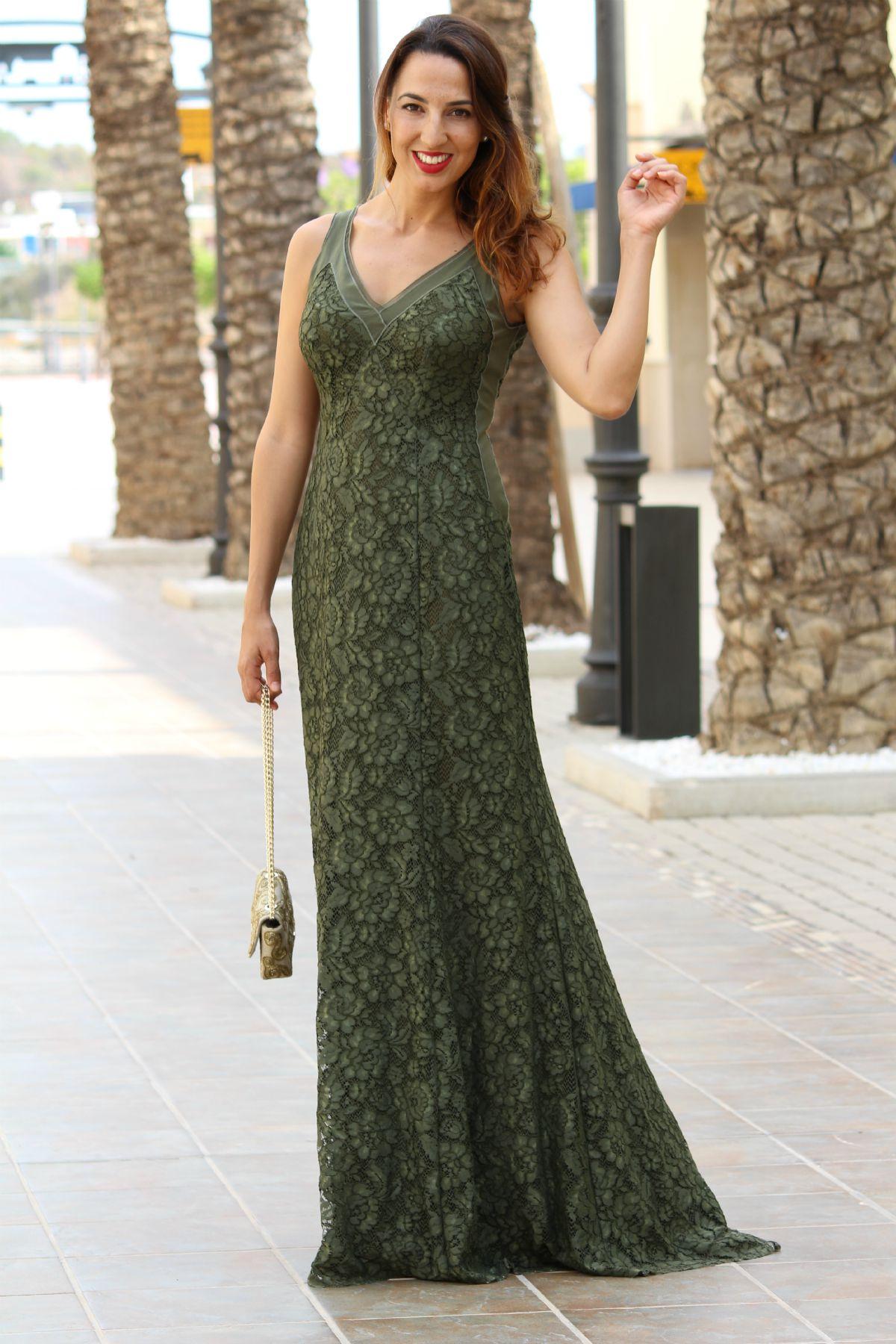Vestido verde purificacion garcia 2015