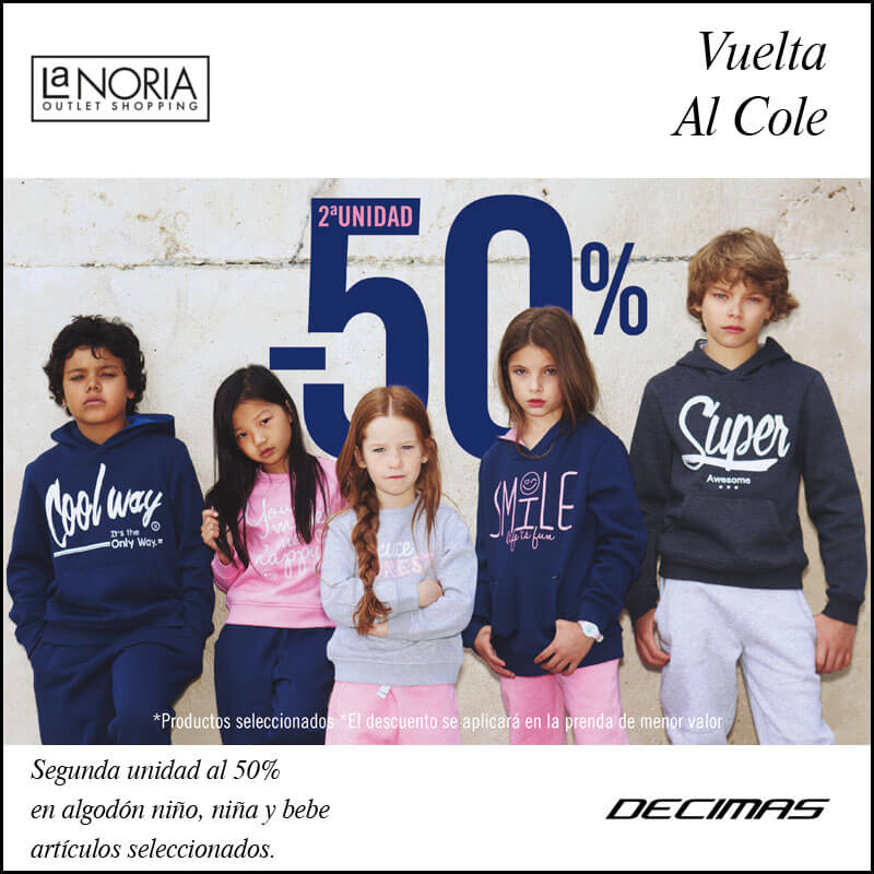 Promo outlet décimas, 50 por ciento en la segunda unidad para prendas de niña y niño de textil de algodón en la noria outlet shopping