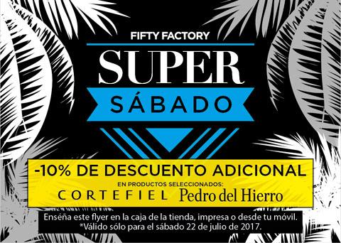 Promocion Super Sabado outlet Fifty Factory de la noria con 10% dto en Cortefiel y Pedro del Hierro