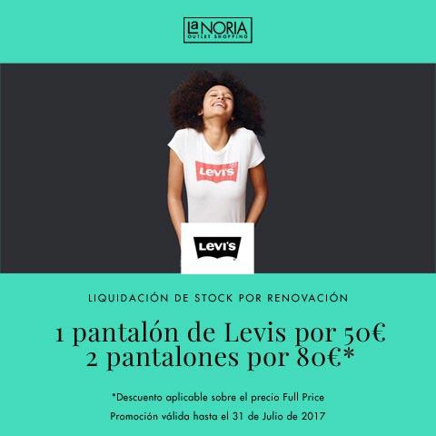 Segunda promoción de liquidación de stock por reforma con descuentos en pantalones Levis