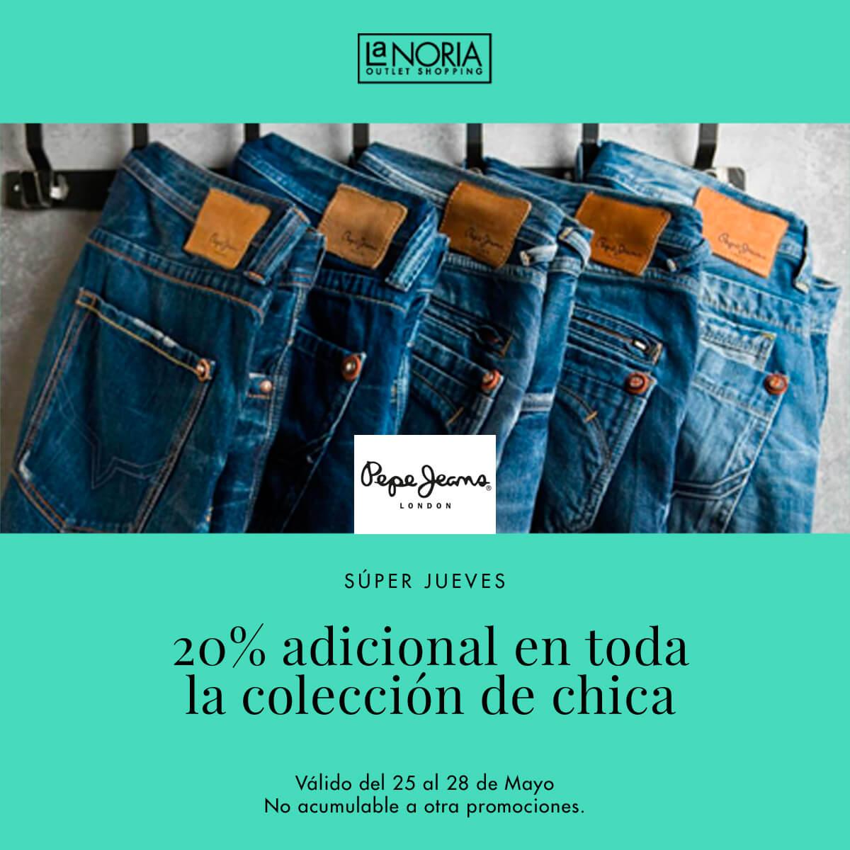 Tenemos también la promocion de super jueves mayo del outlet de pepe jeans en murcia