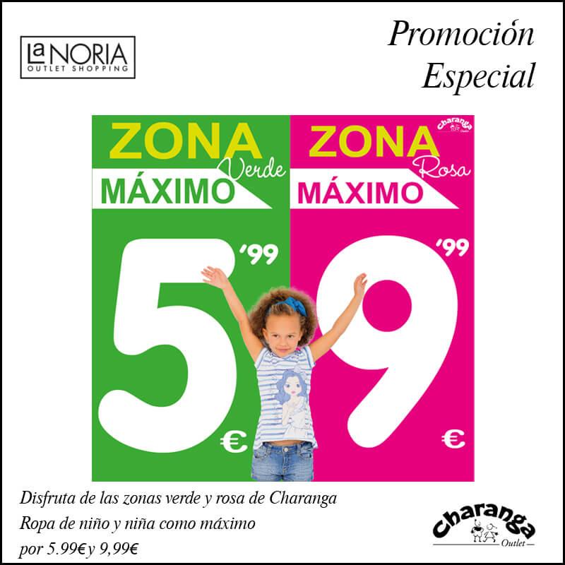 Disfruta de las zonas verde y rosa del outlet charanga en murcia. Ropa de niña y niño como máximo por 5.99 y 9.99