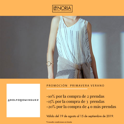 Promoción primavera verano: Hasta un 20% de descuento por la compra de 2,3,4 o más prendas de la colección primavera veranola noria